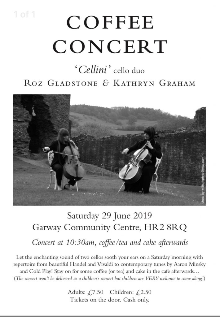 Advertisement for 'Cellini' Coffee Concert on 29th June 10.30am at Garway Community Centre - adults £7.50 chidden £2.50
